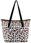 Leopard Print  Paper Straw Shopper Beach Gym Tote Bag Large Handbag Purse New