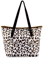 Leopard Print  Paper Straw Shopper Beach Gym Tote Bag Large Handbag Purse New