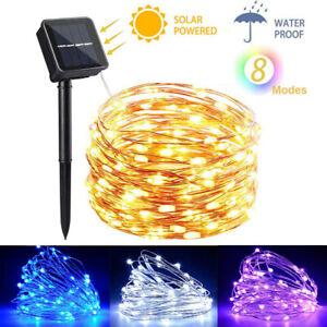 5M 10M 20M LED Solar String Lights Waterproof Copper Wire Fairy Outdoor Garden