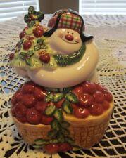 Fitz & Floyd APPLETREE SNOWMAN Lidded Box/Candy Jar #2063/23 NIB New & Perfect!