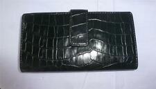 Black Reptile Print Faux Leather Checkbook & Credit Card Wallet New Without Tags