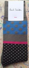 Paul Smith Mens English Socks Classic Polka Grey & Blue F901 One Size Cotton Mix