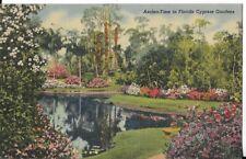 azalea time in florida cypress gardens postcard 1947