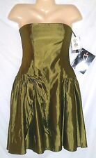 JESSICA McCLINTOCK  STRAPLESS GREEN SATIN PARTY DRESS NWT  SIZE 8P