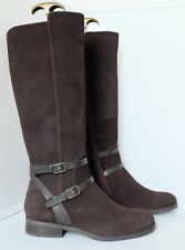 M&S Long Boots in Chocolate Suede Stretch Zip Flexible Leg Fit Insolia Flex