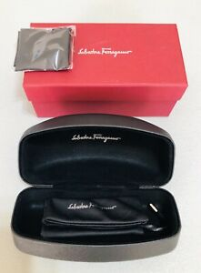 SALVATORE FERRAGAMO Black Sunglasses Clam Shell Case, Red Outer Gift Box