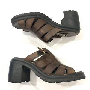 1980\u2019s Strappy Leather Wood Heel Wedge Sandals sz 7