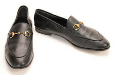 Gucci black 8 41 leather signature horsebit slip on round toe loafer shoe $730