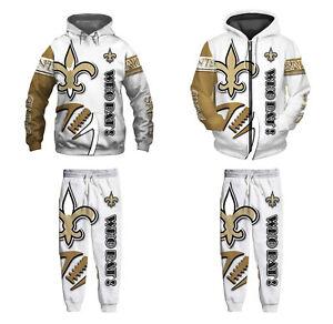 New Orleans Saints 2Pcs Jogging Suit Casual Tracksuit Sportswear Sweat Suit Set