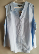 BNWT Womens Sz 26 Autograph Brand Sleeveless Blue Notch Neck Shirt Tunic Top