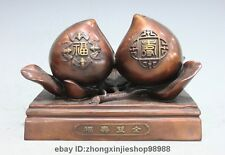 China Pure Bronze home Feng Shui Happiness and longevity Two peach Statue
