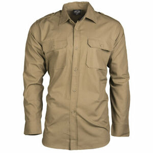 Mil-Tec Long Sleeve Field Military Army Hiking Bush Tactical Shirt Coyote Brown