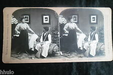 STA798 Scene de genre homme menage femme albumen Photo stereoview 1900