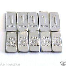 1 Grain Silver Bullion Bars Lot of 10 Pure Silver .999 Fine Miniature Bars sc