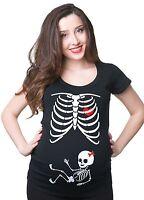 Pregnancy Halloween T-shirt Skeleton Baby Girl Funny Costume  Maternity T-shirt