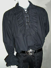 NEW Men's Pirate Black Ruffled Frill Cotton Shirt M