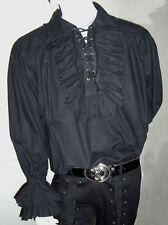 NEW Gothic/ Pirate Costume Mens Black Ruffle Shirt L
