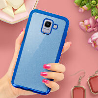 Glitter glam case, protective cover for Samsung Galaxy J6 - Blue
