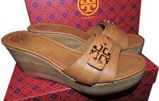 $255 Tory Burch Beige Eloise Clogs Wedge Sandals Flats Shoe Mules Slides 10.5