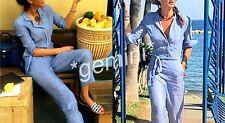 ZARA STUDIO SIZE M 100 % LINEN BLUE Pyjama Style JUMPSUIT LEINEN OVERALL GÜRTEL