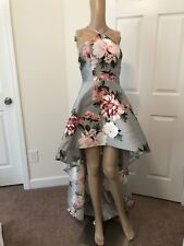 Silver Floral High Low Dress