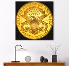 USA $20  GOLD LIBERTY DOUBLE EAGLE  24x24 CUSTOM MOUNTED  CANVAS ART
