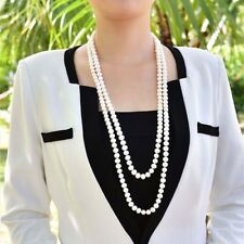 """Natural 7-8mm white Akoya cultured pearl necklace 60"""" long"""