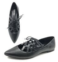 NEW Nine West Merloto Black Leather Pointed Toe Lace Up Ballet Flats 8M