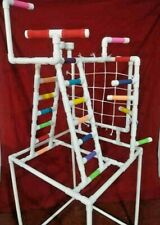Pvc Parrot Play Stand - Our Larger Combo Play Gym Floor Perch *Free Shipping*