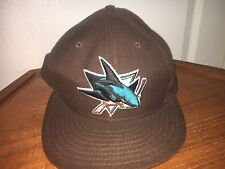 New Era 59Fifty NHL Cap San Jose Sharks Wool Fitted Hat Brown Embroidered