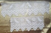 Antique Filet Crochet Heart Wide Lace Trim Edging Figural Bird Lot of 3 A37