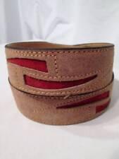 NOS Vtg Tan Beige Suede Leather Belt Rust Inlay Stitched NEVER WORN 40 Unisex