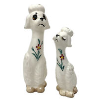 Vtg MCM Anthropomorphic Floral Poodle Pair S + P Shakers Dog Figurine Japan