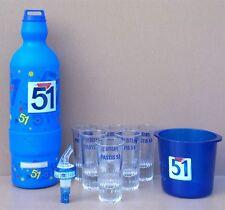 6 verres PASTIS 51 cannelés seau à glaçons doseur piscine + bouteille isotherme