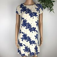 Zara Woman Dress Blue Cream Yellow Floral Print A-Line Size Small