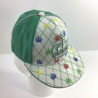 CAPTAIN Fitted Cap SZ SM 6-7/8 Acrylic Flat Hat Embroidered Hip Hop Crowns Green