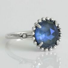 Midnight Star Ring 925 Solid Sterling Silver Large Blue Crystal Band Size 6