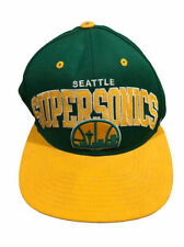 Vtg Mitchell Ness Seattle Supersonics Green/Yellow Colorblack Snapback Wool Hat