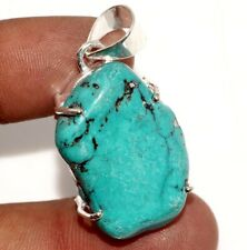 """Turquoise 925 Sterling Silver Plated Pendant 1.5"""" GW"""