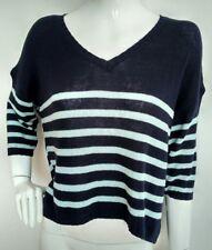 ECOTE dip hem oversized jumper size S --MINT-- 100% cotton navy stripe