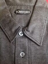 8eb3813b52f7f TOM FORD MENS  590 DARK GRAY BLACK 100%COTTON POLO RUGBY SHIRT SZ