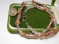 "Fresh H20 Keshi Bar Pearl Rutilated Quartz Bead strand 17"" Silver Necklace 7e18"