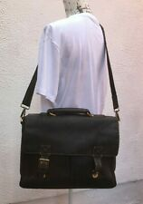Mans Leather Satchel Bag Brown Large Visconti Shoulder Strap Attache Sac Borsa L