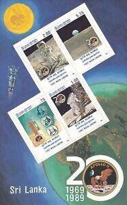 Sri Lanka 1989 20th Anniversary of First Moon Landing Miniature Sheet MNH
