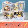 Dollhouse Miniature Furniture DIY Kit Wood Toy Doll House Cottage W/LED lights