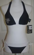 NWT NHL.com Pittsburgh Penguins Black & White Adjustable String Bikini Sz M NEW