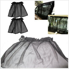 2 X Black Portable Car Window Anti-Sun Protector Curtain With 6 Mini Suction Cup
