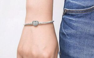 Silver Pandora Jewelry Chain Bracelet Heart Clasp Charm Snake Fashion Gift GF