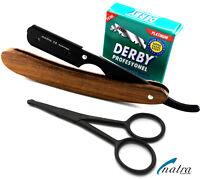 Holz Rasiermesser + 100 Derby Rasierklingen Rasierer Rasur Razor + Bartschere