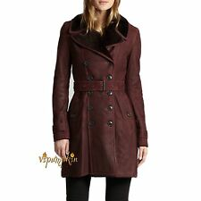 $2595 BURBERRY BRIT FEERSDALE SHEARLING TRENCH COAT DARK BLACK CURRANT 4 US